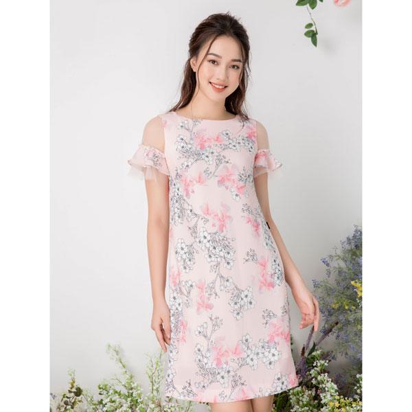 Đầm suông tay loe phối ren đính trai MMOutfit D0518316