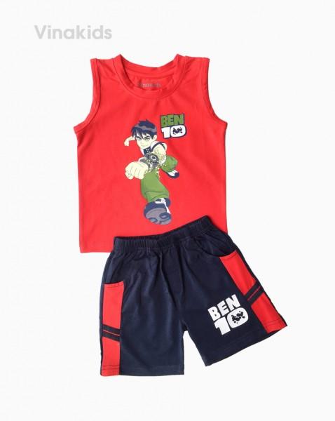 Đồ bộ bé trai Ben 10 quần sọc ngang màu đỏ (1-7 tuổi)