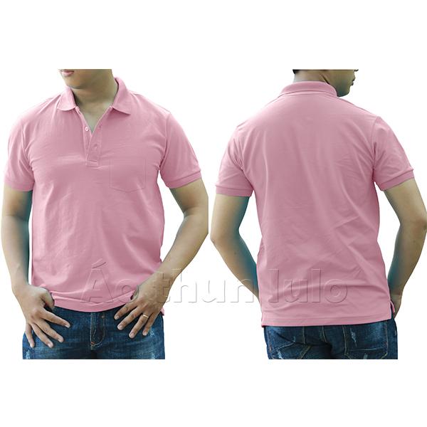Áo thun cổ trụ có túi - Màu hồng phấn