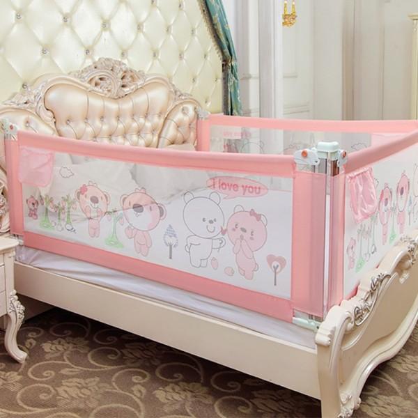 Thanh chắn giường mẫu 2019 cao cấp Babyqiner BQ-02 - 2M - Hồng trượt lên xuống Giá 1 thanh
