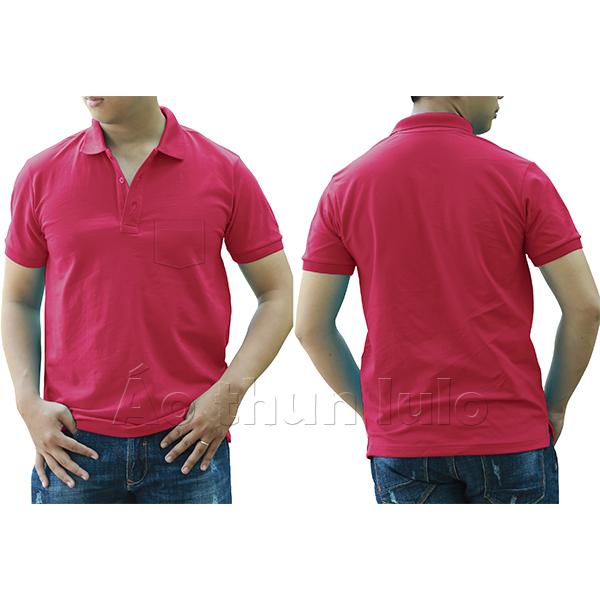 Áo thun cổ trụ có túi - Màu hồng sen