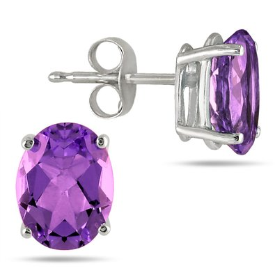 Hoa tai 6X4mm ALL NATURAL OVAL AMETHYST STUD EARRINGS IN .925 STERLING SILVER
