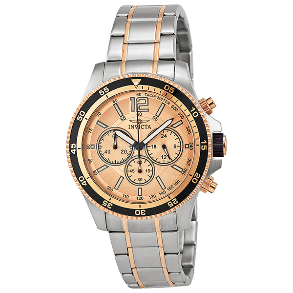 Đồng hồ nam INVICTA-13977 Specialty Chrono Silver-Tone SS Rose-Tone Dial