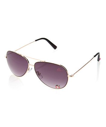 Kính mát Betsey Johnson Gold Bow Large Aviator Sunglasses