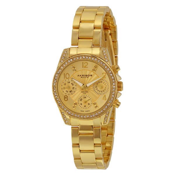 Đồng hồ nữ Akribos XXIV AK710YG Multifunction Diamond & Crystal Gold- Tone