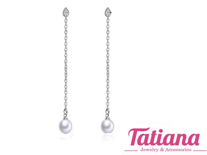 Bông Tai Giọt Nước Dài Đính Trai - Tatiana - B2806