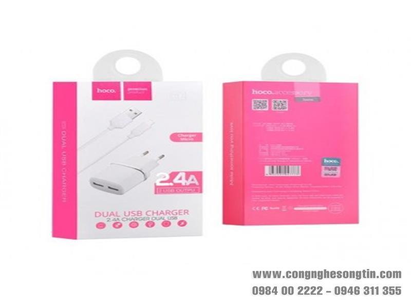 HOCO - Bộ cóc cáp sạc C12 MICRO 2 cổng USB