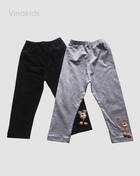 Quần legging bé gái hình mặt thỏ màu ghi (1-7 tuổi)