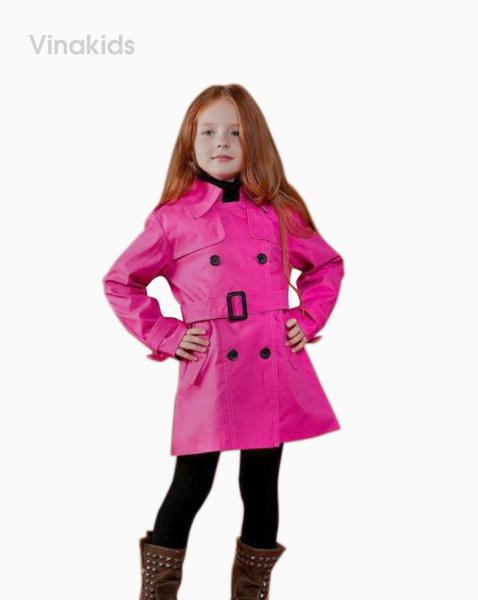 Áo khoác bé gái măng tô kaki màu hồng sen