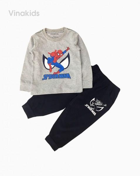 Đồ bộ bé trai dài tay siêu nhân spiderman màu ghi (sz 1-7 tuổi)