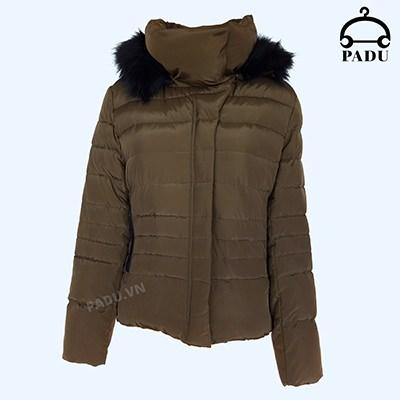 Áo khoác lông vũ có mũ màu rêu size S CN18KW01-R-S