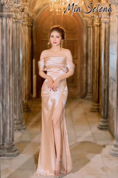 Đầm dạ hội Mia Selena thiết kế rớt vai xẻ đùi cực quyến rũ (Nude)