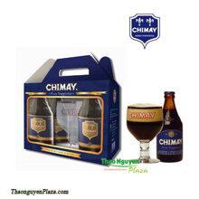Hộp quà tặng bia Chimay xanh và Ly cao cấp ( Chimay Blue Gift pack )