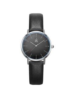 Đồng hồ nam Chính Hãng Shengke Korea K8066G-01(dây da đen-mặt đen)