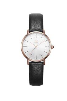 Đồng hồ nam Chính Hãng Shengke Korea K8066G-03(dây da đen-vỏ vàng hồng)