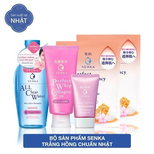 Hộp quà sản phẩm Senka trắng hồng chuẩn Nhật [SRM Collagen 120g, CN Serum CC 40g, All Clear Water 230ml, Mask 25ml]