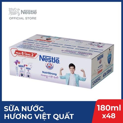 Thùng 48 hộp sữa nước Nestlé uống liền hương việt quất - 6 lốc x 8 hộp x 180ml
