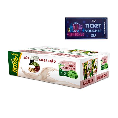 Mua 1 Thùng 30 hộp sữa 5 loại đậu Nesvita - 10 lốc x 3 hộp x 180ml Tặng 1 vé xem phim CGV 2D