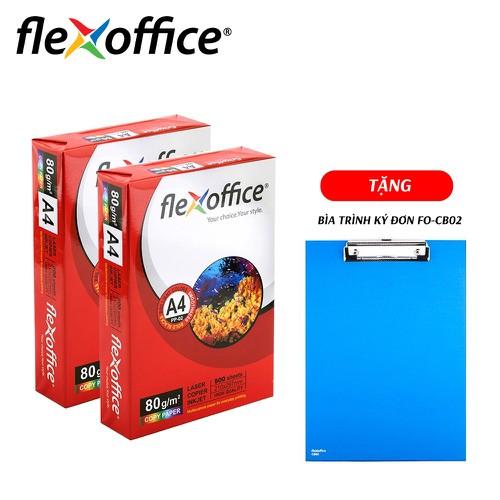 Combo 2 Ream Giấy Flexoffice A4-80 PP-02 - TẶNG Bìa trình ký đơn FO-CB02 - 342116333cb