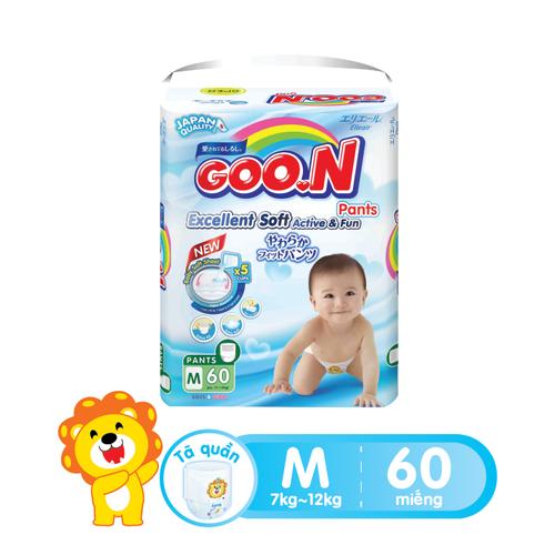 Tã quần Goon Slim M60 gói cực đại 60 miếng cho bé từ 7-12 kg